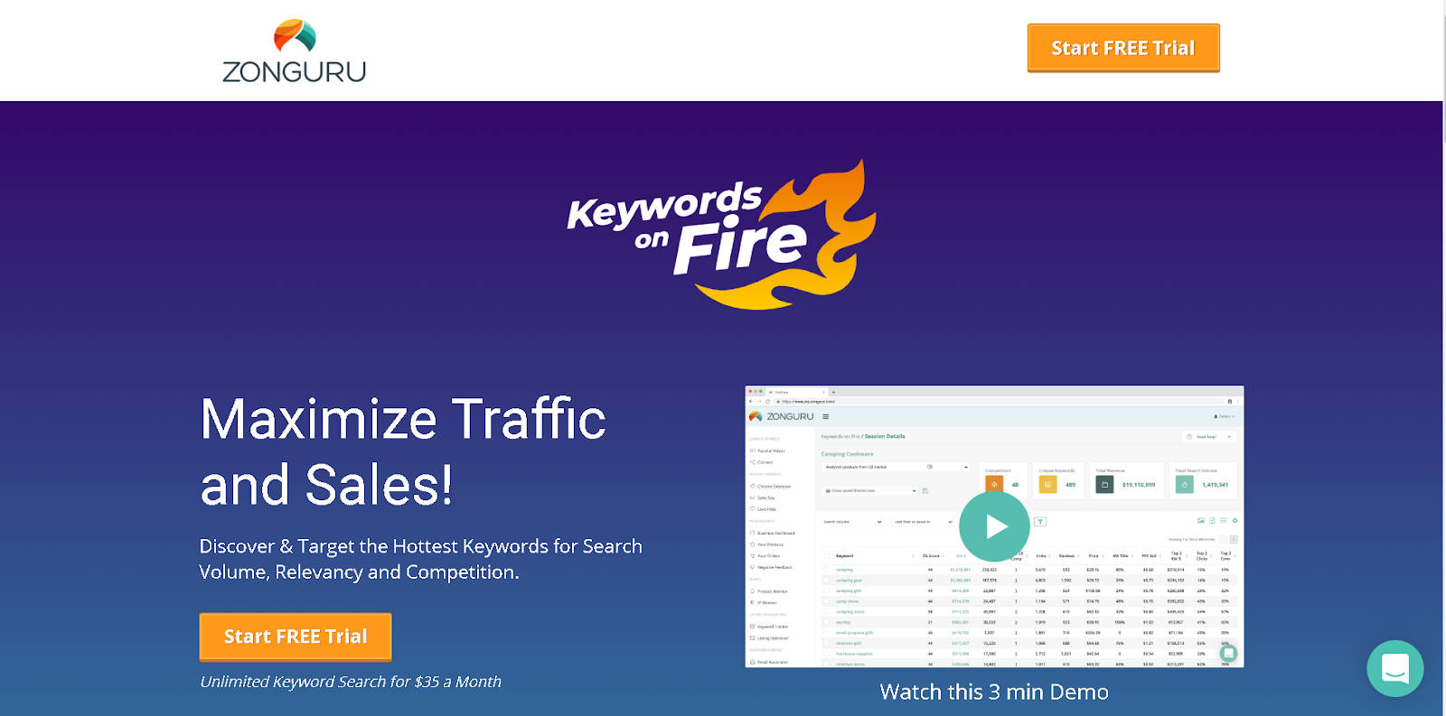 Keywords on Fire - The Most Accurate Keyword Tool from ZonGuru